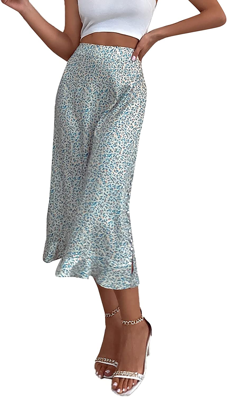 SheIn Women's High Waist Ditsy Floral A Line Split Ruffle Hem Boho Midi Skirt