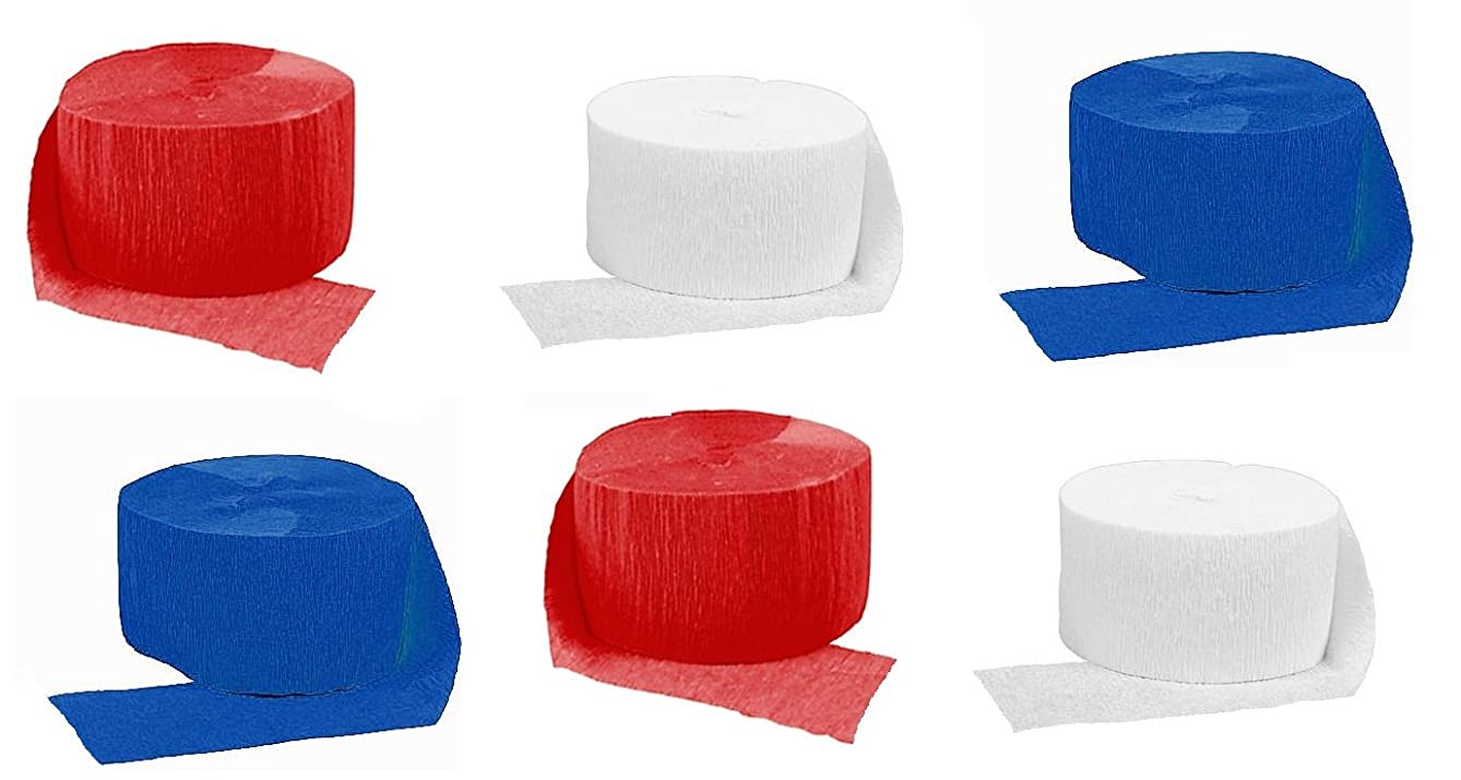 Crepe Paper Streamers for Birthday Party Wedding School Celebrations Decorations (Red White Blue, 6 Rolls)