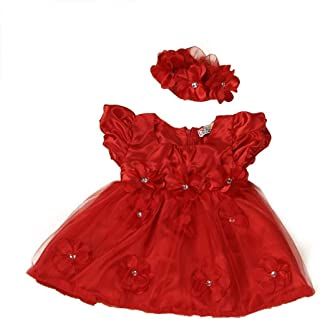Baby Girls Red Lace Princess Headband Dresses for Christmas/New Year