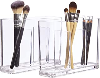 STORi Bliss Plastic Organizer | Clear Makeup Brush Holders Clear