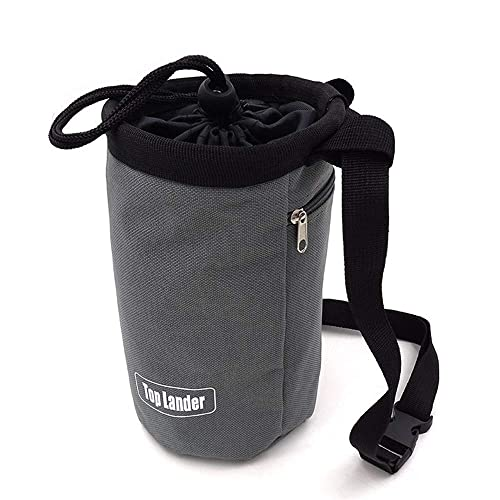 03d9aece4866 Top Lander Gray Chalk Bag for Rock Climbing Bouldering Weightlifting  Powerlifting Gym Workout with Zippered Pocket