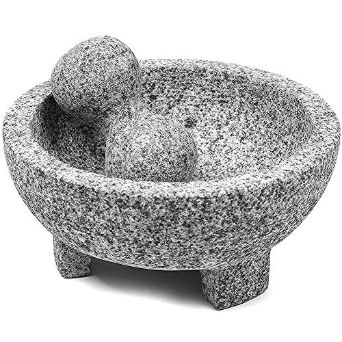 Mortar and Pestle Set Guacamole Bowl Molcajete, Natural Stone Grinder for Spices, Seasonings, Pastes, Pestos and Guacamole, Easy to Clean