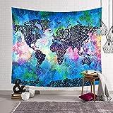 KHKJ Mapa del Mundo habitación Manta Colgante de Pared Tapiz Tienda de campaña colchón de Viaje Manta de Toalla de Playa Arte decoración del hogar A4 200x150cm