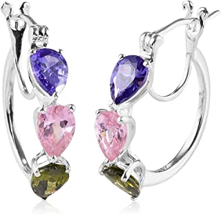 925 Sterling Silver Huggie 3 Stone Heart Hoops Hoop Earrings for Women Pear Cubic Zirconia CZ Hypoallergenic Jewelry Ct 5.4 (Multi/Purple)