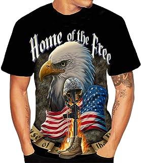 iLOOSKR T-Shirt Mens 3D Bald Eagle Flood Printed Short-Sleeved Crew Top Blouse