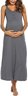 Maternity Nursing Nightgown Womens Sleeveless V-Neck Breastfeeding Sleep Dress Long Gown for Pregnant