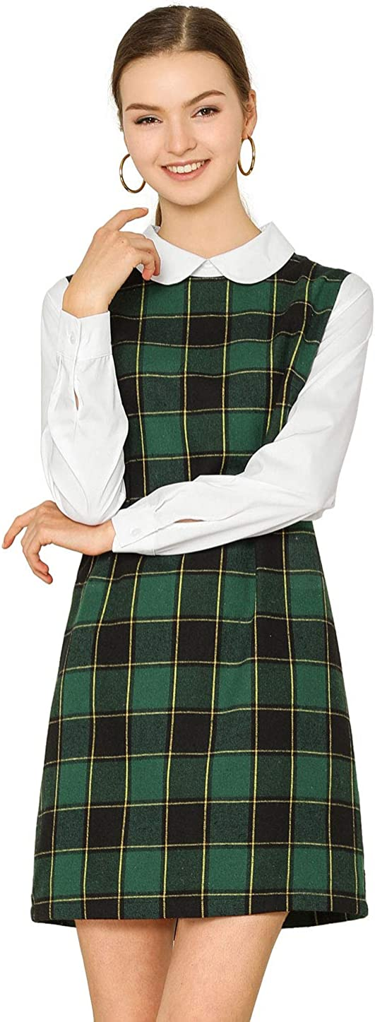 Allegra K Women's Contrast Peter Pan Pl Max 60% OFF Collar Long Sleeve Animer and price revision Shift