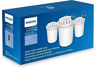 3 Cartouches de rechange pour Carafe filtrante Philips AWP201 - Microfiltration calcaire, chlore, plomb et pesticides.