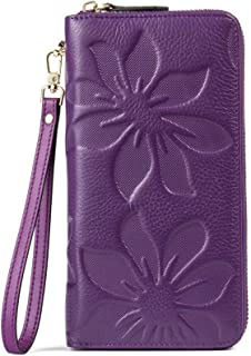 BOSTANTEN Women's RFID Blocking Leather Wallets Credit Card Cash Holder Clutch Wristlet Purple