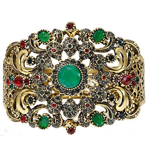 Armband,Vintage Armkette Strass Für Frauen Antik Bronze Farbe Marokko Traditionelle Hochzeit Schmuck Armreif Armband Grün