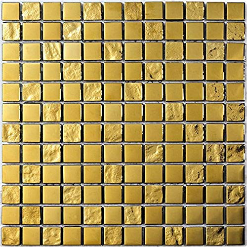 Decostyle DEC-47082ABC113 Mosaico Decorativo, Oro, 8 mm, 30 x 30 cm