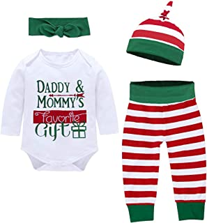 Christmas Newborn Baby Boy Girl Outfits Long Sleeve Daddy Mommy Print Top + Stripe Pants + Hat + Headband 4pcs Clothes Set