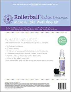 Roller Ball Babies & Mamas Essential Oil Make And Take Workshop Kit - Includes Labels, Recipes, Postcards & Tip Sheet For Up To 10 People - Everything You Need To Host A DIY How To Class