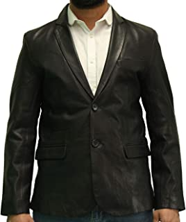 Mens Real Leather Two Button Fitted Blazer with Back Vent. Available in Black and Chestnut Brown