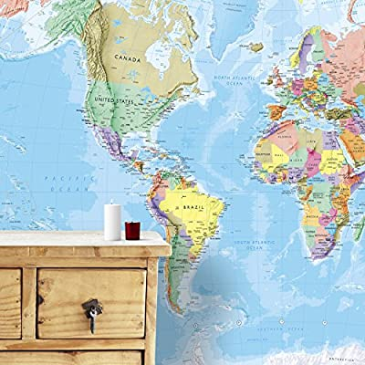 Giant World Map Mural - Wall Decoration - 91.3 (w) x 62.2 (h) inches