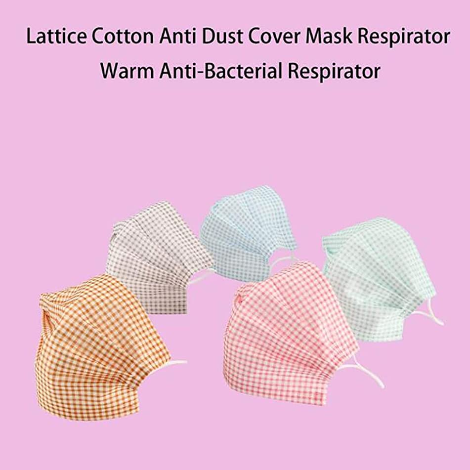 Aland-5Pcs Reusable Plaid Cotton Face Mouth Masks Anti-Dust Breathable Respirator