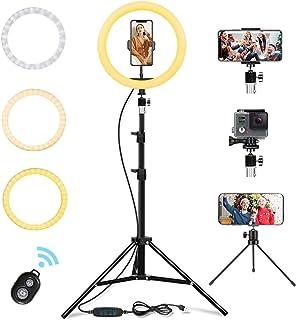 LED-ringlampa 10 tum med stativstativ och telefonhållare, flexibel slang, USB-driven, 3000K-6500K dimbar stående ringlampa...