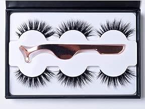 3 Pairs Fluffy Mink Eyelashes 3 Styles Siberian 3D Natural Look Hand-made Luxury Fashion Fake Lashes with EyeLashes Tweezers(302)