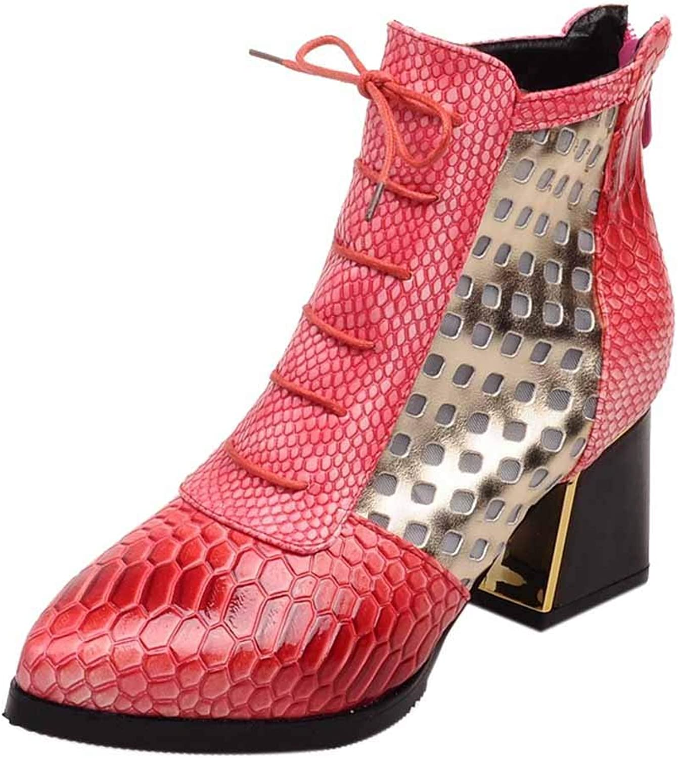 A-LING Ladies Snakeskin Print Women's Cool Sequin Embroidery Pointed Ankle Boots