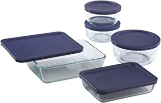 Pyrex Simply Store Glass Food Containers with BPA Free Plastic Blue Lids (10-Piece Set)
