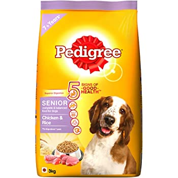Pedigree Senior Dry Dog Food, Chicken & Rice, 3kg Pack