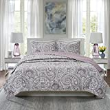 Comfort Spaces Paisley Design, Double Sided Quilting All Season, Lightweight, Coverlet Bedspread Bedding Set, Matching Shams, King/Cal King(104'x90'), Kashmir Purple
