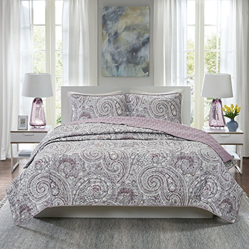 Comfort Spaces Paisley Design, Double Sided Quilting All Season, Lightweight, Coverlet Bedspread Bedding Set, Matching Shams, Full/Queen(90'x90'), Kashmir, Purple