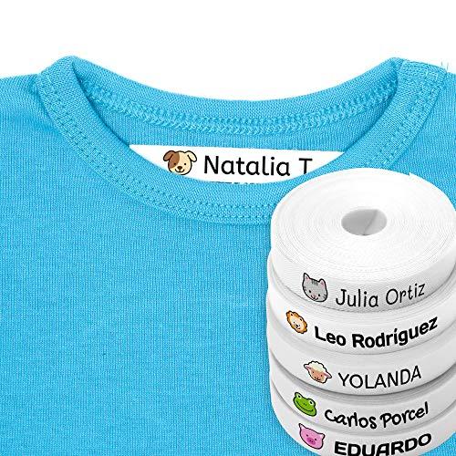 100 Etiquetas Personalizadas para ropa con Icono en Color a seleccionar. Tela Blanca. Mod. Animales