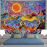 Generleo Psychedelic Mountain Tapestry Trippy Sun Tapestry Hippie Tapestries Abstract Trees Tapestry Colorful Bohemian Nature Landscape Tapestry Wall Hanging Poster for Room