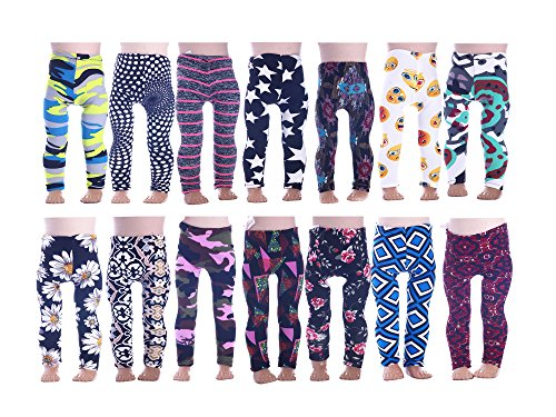 Luckdoll 7Pcs Colorful Girl Doll Leggings for American Girl Dolls ans Other 18 inch Dolls