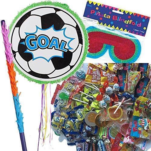Pinata Set: * FUSSBALL * mit + Maske + Schläger + 100-teiliger Süßigkeiten-Füllung No.1 von Carpeta© // Handgefertigte spanische Pinata. Tolles Spiel für Kindergeburtstag oder Mottoparty // Fußball