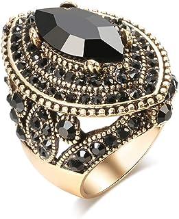 CKHAO Women Ring - Big Size Antique Gold Plated Turkish Style Black Gemstone Vintage Ring Women Jewelry J0769BLK