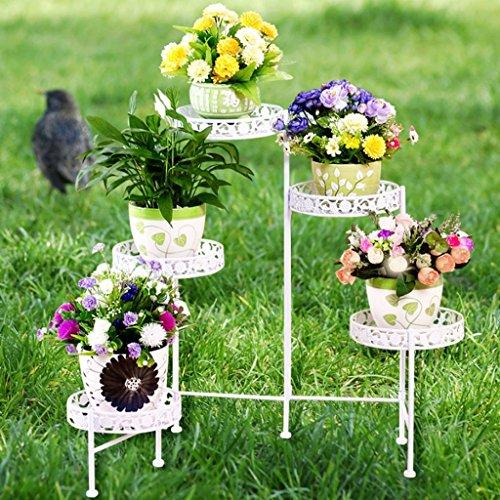 Support de Fleur de Fer d'art, Support de Pot de Fleur de 5 *, Balcon d'intérieur Salle de Plancher de Plancher de Type Multi-étage de Fleur (Couleur: Blanc)