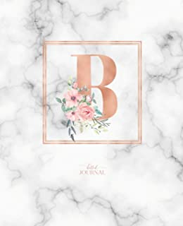 "Dotted Journal: Dotted Grid Bullet Notebook Journal Rose Gold Monogram Letter B Marble with Pink Flowers (7.5"" x 9.25"") for Women Teens Girls and Kids"