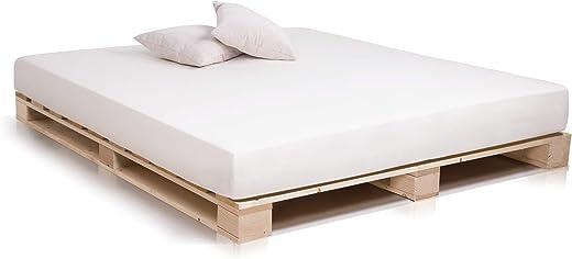 PALETTI Palettenbett Massivholzbett Holzbett Bett aus Paletten mit 11 Leisten, Palettenmöbel Made in Germany, 160 x 200 cm, Fichte Natur