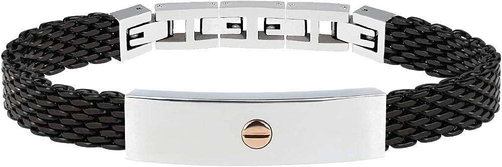 Breil bracciale uomo in acciaio nero con placchetta in acciaio e inserto in oro TJ2740
