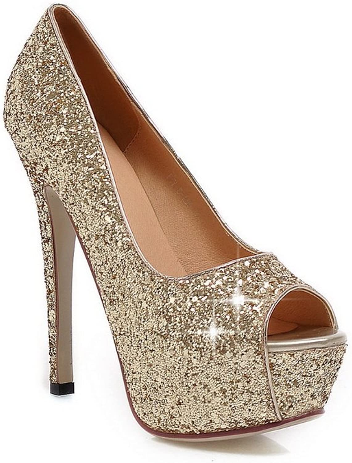 AdeeSu Womens Sequins Dress Soft Material Pumps shoes