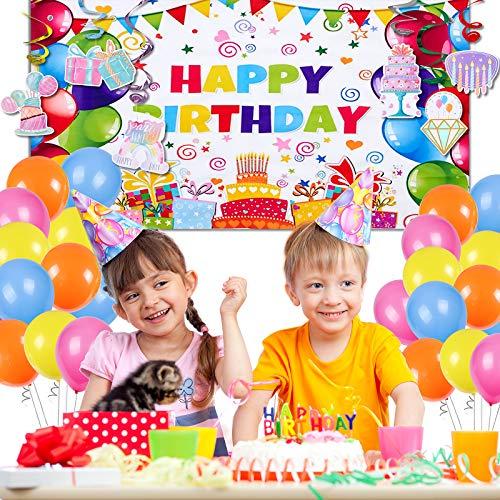 vamei Decoraciones de Fiesta de Cumpleaños Decoraciones De Cumpleaños Coloridas con 1piezas Fiesta de Cumpleaños Banner 30piezas Feliz cumpleaños Decoración Globos para niñas niños mujeres