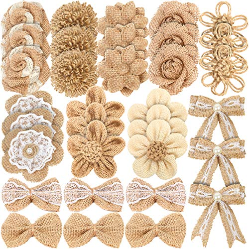 LEOBRO 33PCS Handmade Burlap Flowers Set, 8 Styles Natural Rustic Burlap Flowers & 3 Styles Craft Burlap Lace Pearl Bowknot Great for Wedding Home Decoration Christmas Party DIY Craft Bouquets