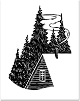 11x14 Cabin Wood Poster/Cabin Wall Decor/Cabin Art/Forest Landscape/Outdoor Inspiration/Nature Lover/Trees Mountains...