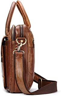 Leather Bag Mens Retro Leather Man's Briefcase Leather Laptop Bag Man's Bag High Capacity (Color : Brown, Size : S)