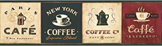 York Wallcoverings EB8900B Border Book Coffee Signs Border, Cream/Browns