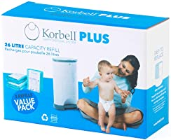 Korbell Nappy Disposal Refill, Green, 3 count, Plus - 26L (KR280DR3B)