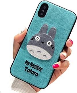 BONTOUJOUR iPhone XR Case, Lovely Embroidery My Neighbor Totoro Pattern TPU Case 360 Degree Full Body Strong Protection Girls Case for iPhone XR - Totoro Green