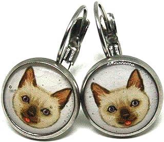 Orecchini gatto - Orecchini pendenti in acciaio - Regalo per amante gatti