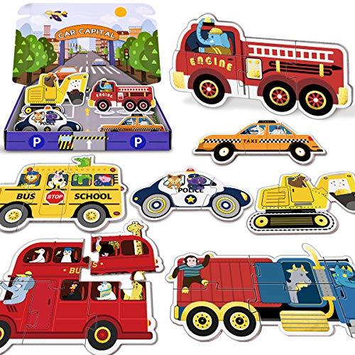 PAPERKIDDO 36 Piezas Puzzles de de Cartón de Colores Estilo del Vehículo Educativos Juguetes Bebes,Colorido Rompecabezas Juguetes de Inteligencia para niños 2 3 4 años