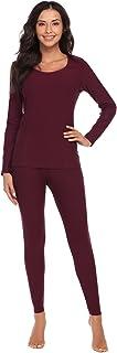 Ekouaer Women's Long Thermal Underwear Fleece Lined Winter Base Layering Set