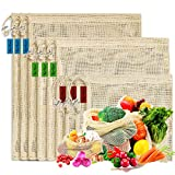 Reusable Organic Cotton Produce Bags - Set of 9 Recyclable Cotton Mesh Bags with Drawstring Tare Weight Biodegradable Eco-Friendly Net-zero Bulk Shopping Storage Bag for Fruit, Vegetable, Toys