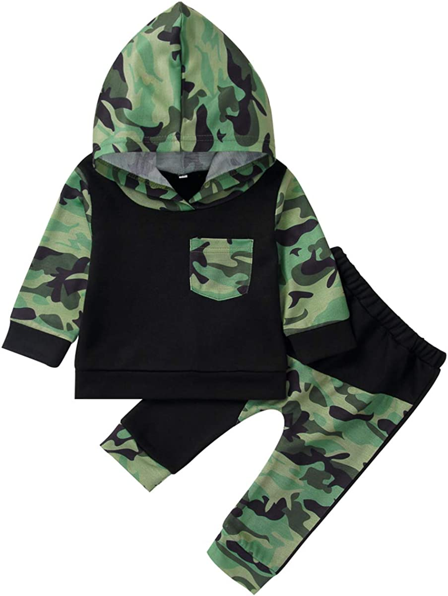 Toddler Kids Baby Boys Clothes Long Sleeve Lil' King Hoodie Top + Camouflage Pants Sweatsuit Fall Outfit Set (Black#02, 18-24 M)