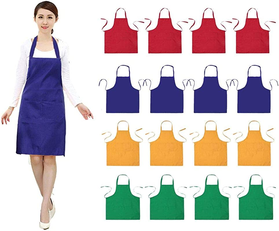 16 PCS Plain Color Bib Adult Apron For Women Men With 2 Pockets Waterproof Apron For Kitchen Cooking Drawing Crafting Painting Chef Restaurant Baker Servers Waitress Waiter BBQ 16 Blue Combination